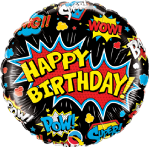 "Birthday Super Hero Black Foil Balloon (18"") 1pc"
